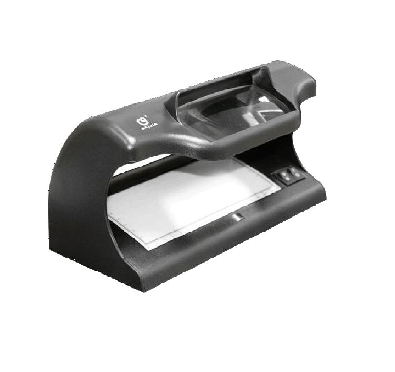 détecteur de faux billets multifonctions, est muni d'ondes courtes et longues en ultraviolet, de détecteur de filigrane magnétique et de détection grossissante