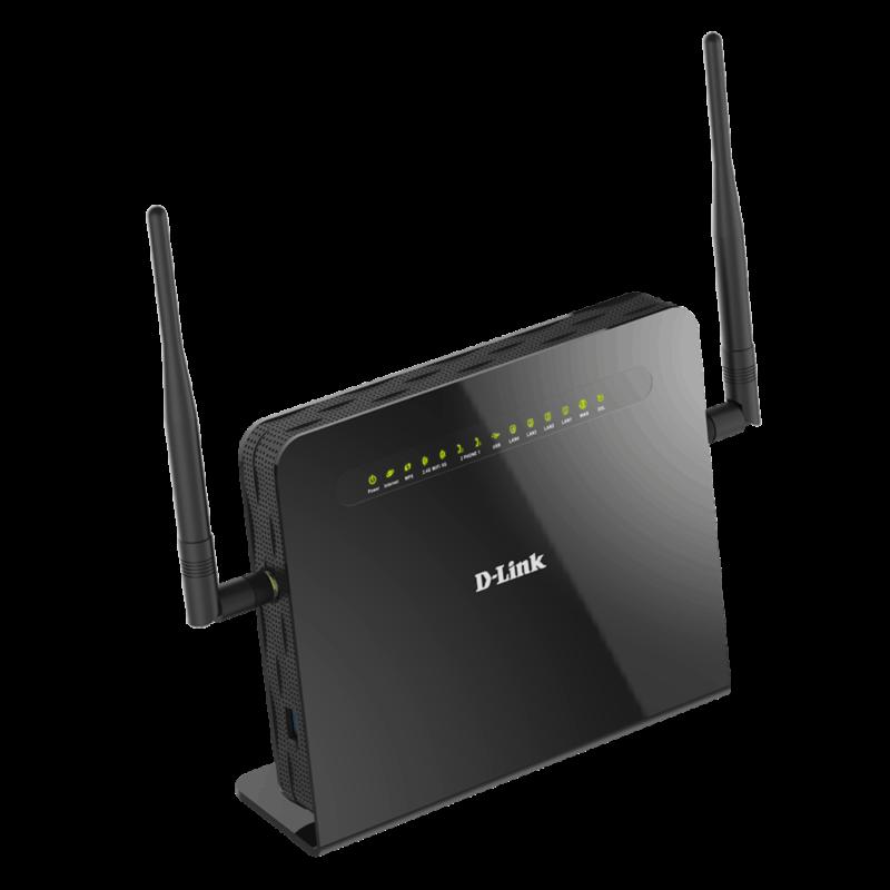 Modem routeur sans fil double bande AC1200 VDSL2 / ADSL2 + avec VOIP,4 ports Gigabit LAN +1 WAN,1 USB, 2FXS,2x9 dBi antennes détachables